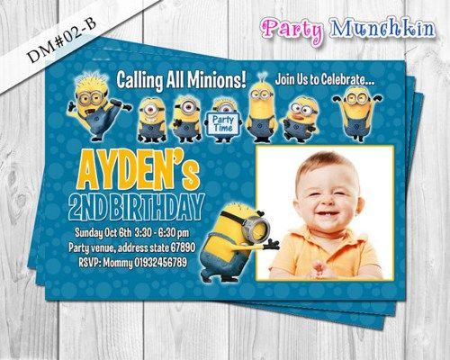 MINIONS photo invitation, Despicable Me photo invite, Minion card for Despicable Me birthday party - DIY Printable (4x6)