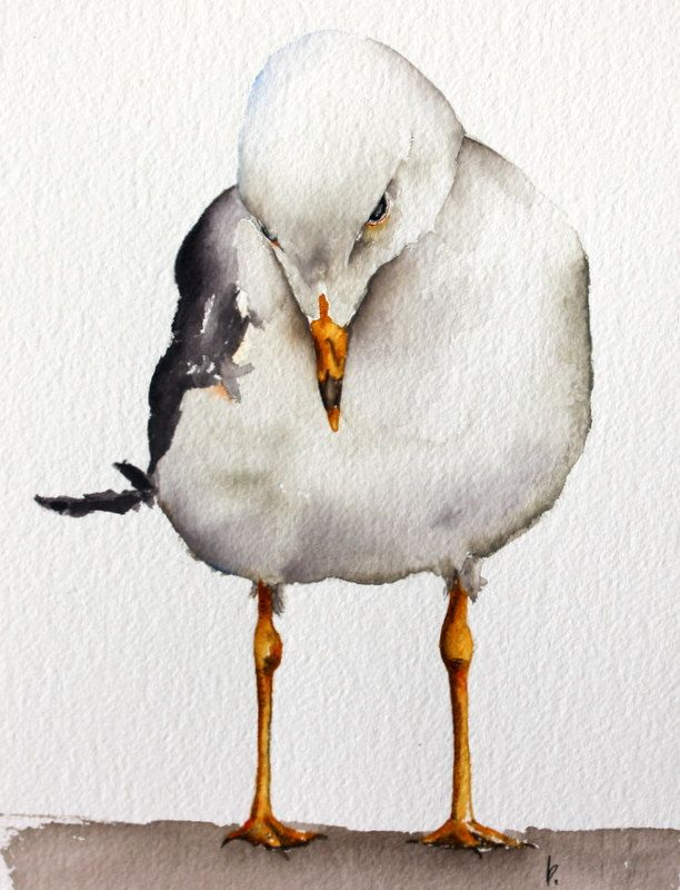 watercolor bird painting bird art original watercolor Seagull by Betty Moore by bMoorearts on Etsy