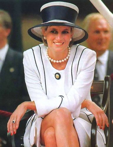 August 19, 1995: Princess Diana, Prince Harry, Prince William & Prince Charles attend the commemoration of VJ Day in London.