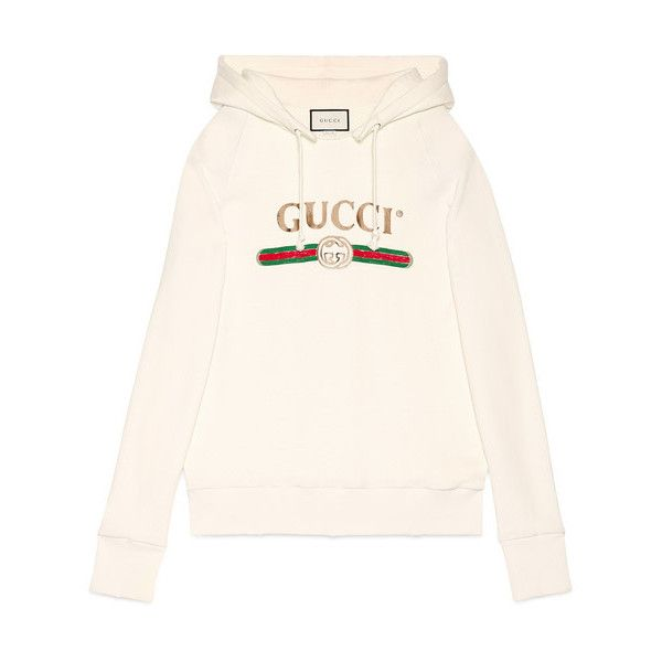 gucci hoodie. gucci embroidered hooded sweatshirt featuring polyvore, women\u0027s fashion, clothing, tops, hoodies, hoodie