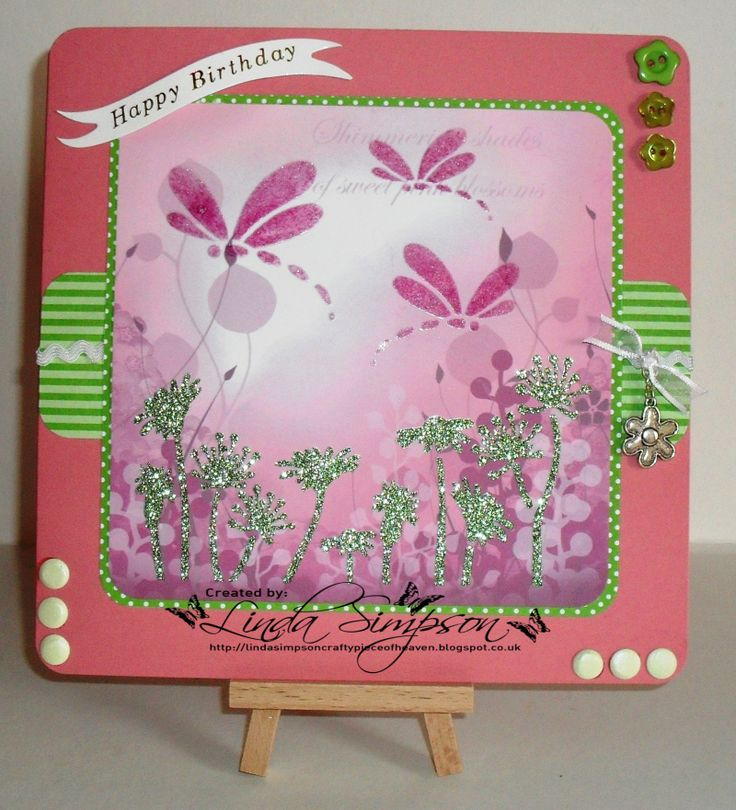 Patterned Card and Sparkle Medium, Dragonfly and Flower stencil