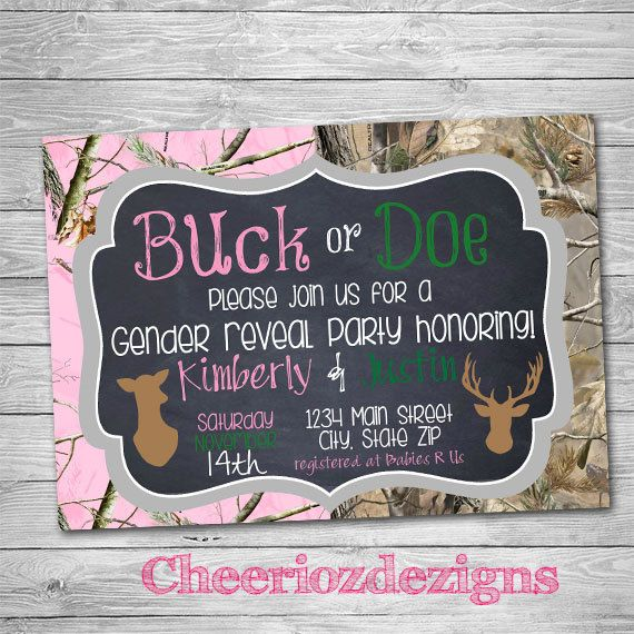 Buck or Doe Gender Reveal Party Invitation- Camo Print- Digital Invite - Boy or Girl by CheeriozDezigns on Etsy