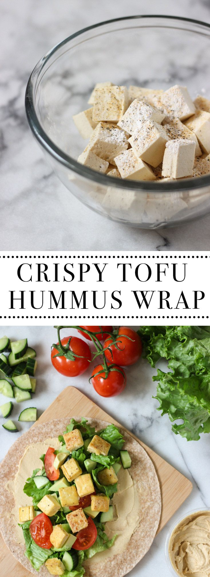 Crispy Tofu Hummus Wrap recipe is the perfect healthy lunch idea! Easy to make, loaded with protein and super tasty! Exploring Healthy Foods