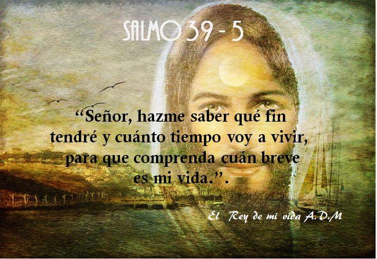 """Salmo 39-5 """"Señor, hazme saber qué fin  tendré y cuánto tiempo voy a vivir,  para que comprenda cuán breve  es mi vida.""""."""