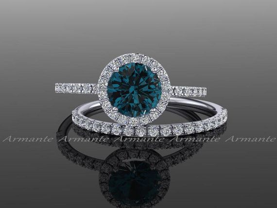 London Blue Topaz Engagement Set, Diamond Alternative 14k White Gold White Sapphire Halo Wedding Set Re00074wltz. https://www.etsy.com/listing/269706476/london-blue-topaz-engagement-set-diamond?ref=shop_home_active_7