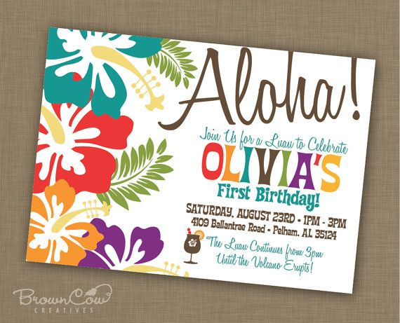 PRINTABLE Luau Party Invitation by BrownCowCreatives on Etsy