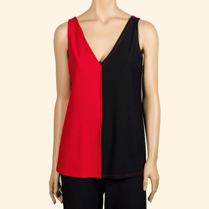 Camiseta de tirantes bicolor negro - rojo en tejido de baguilla. #InstintoBcn