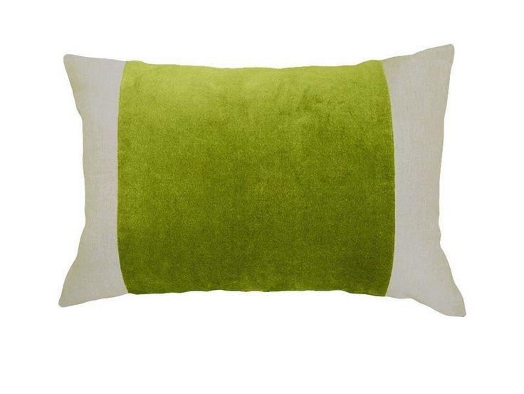Opera Velvet/Linen Cactus Green Cushion - A rectangle filled cushion, featuring a vibrant cactus green velvet panel on a natural linen backing.