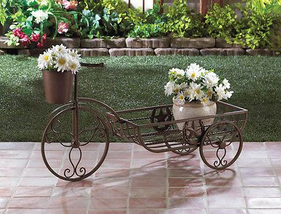 RUSTIC WESTERN THEMED LONE STAR TRICYCLE CART PLANTER PLANT STAND