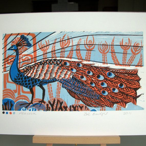 Peacock linocut print by Zebedeeprint on Etsy