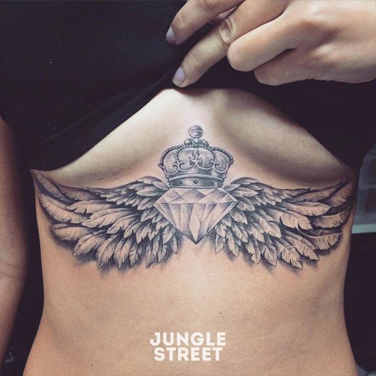 Diamond wings underboob sternum tattoo #junglestreet