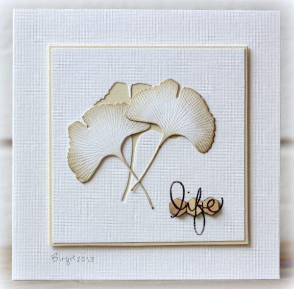 ginko+leaf+die+card+ideas | ett skrivbord: Less is More 124 ... die cut and inked gingko leaves ...