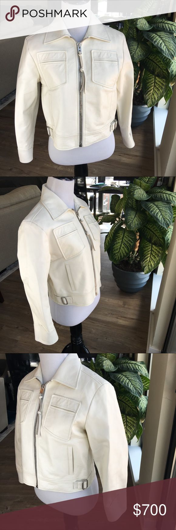 """Coach Cropped Mod Jacket Leather Authentic & New Women's COACH Cropped Mod Jacket **As seen in the New York Post Style Section!"""" Retail Price $1,595  Size 8 some marks/flaws - see photos but the coat is new with tags 100% Calf Leather Made in Italy Off White/Cream Color Long Sleeve Crop Length Non-smoking home  Approximate Measurements: Shoulders: 17"""" Sleeve Length 20"""" Jacket Length back of neck to bottom: 18"""" Pit to Pit 18"""" **FYI I am a 36D cup and this jacket will not zip up on me - it…"""