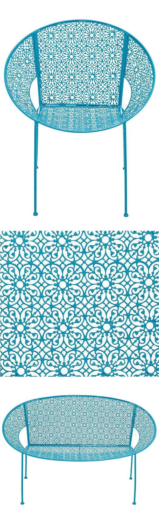 Blue outdoor chairs // love the stamped metal pattern #furniture_design