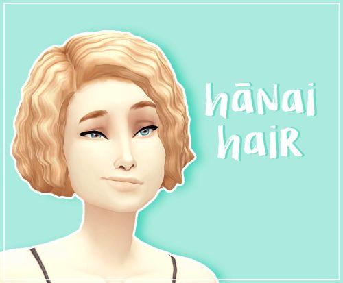 Hānai curly hair for The Sims 4