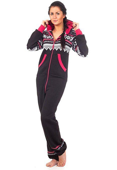 Loomiloo® Jumpsuit Freizeitanzug Overall Hausanzug Einteiler Strampler Body Anzug Jumpsuits Overalls Pyjama Norweger Muster (M/L, Schwarz)