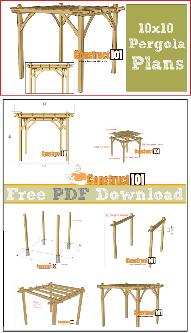 Pergola plans - 10x10 - free PDF download, cutting list, and shopping list.