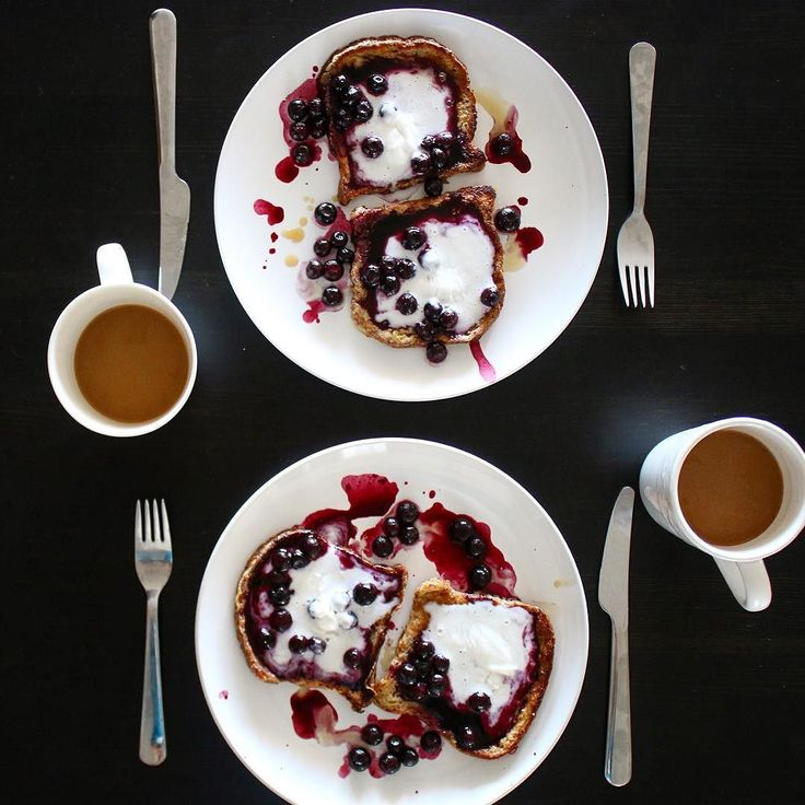 """North American culture loves the """"dessert"""" breakfast. Sugar dense cereals pancakesand French toast. Not really part of a healthy diet. But can be a delicious treat. Here I made some coconut cream French toast with a blueberry coulis and coconut cream whip that melted before I could snap. So delicious."""