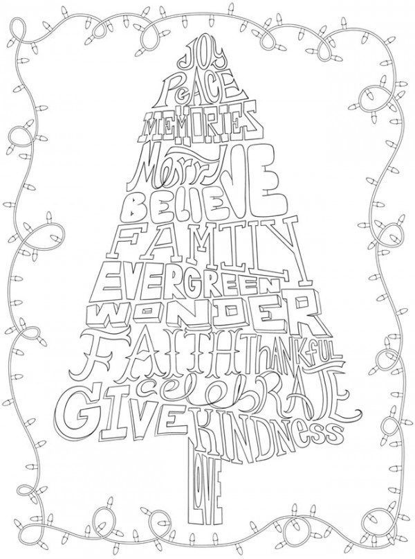These Whimsical Christmas Coloring Pages Use Festive Words To Shape Traditional Christmas Tree Coloring Page Christmas Coloring Pages Christmas Coloring Books