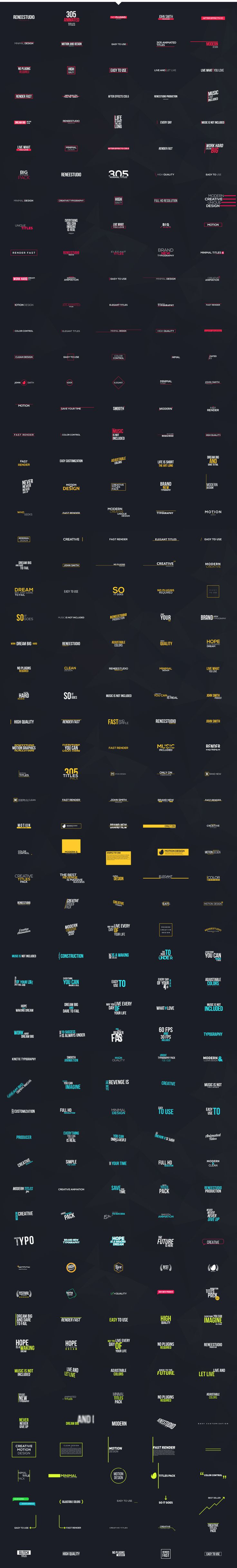 305 Titles Ultimate Pack  • After Effects Template • See it in action ➝ https://videohive.net/item/305-titles-ultimate-pack/16262208?ref=pxcr