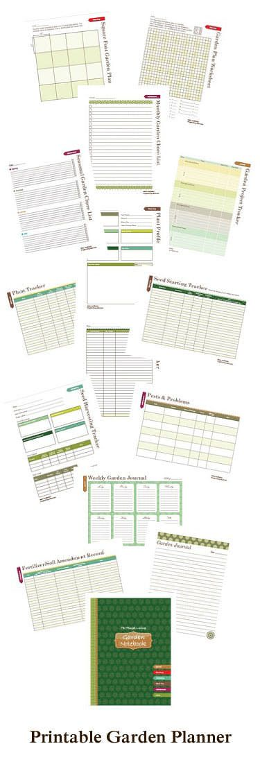 Free Garden Planner Printable Garden Notebook Put all of your garden plans, records and dreams in one place. Just slide this printable cover into the front of a binder, and you have your very own garden notebook. This is great! 18 various printable pages!