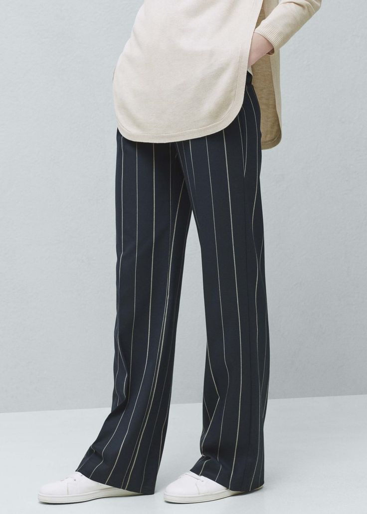 Straight striped trousers   MANGO