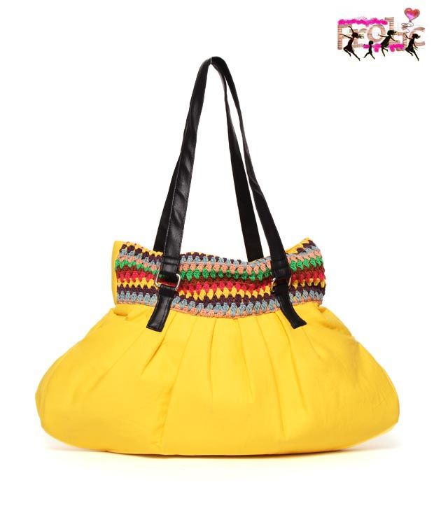 #Snapdealbestproducts Frolic Yellow With Crochet Work Bonnie Bag, http://www.snapdeal.com/product/frolic-yellow-with-crochet-work/427752?pos=4;3114