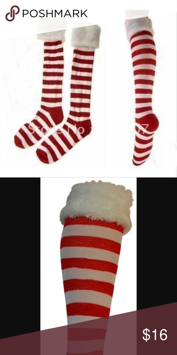 Red And White Santa Socks 🎅🏼 Adorable holiday socks. Worn once, in great condition. Not Victoria's Secret. Victoria's Secret Other