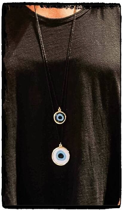 Trend Alert 2015!!!   Evil Eye Pendant in many different colours! Protection with style!!  Tip: For a serious style statement and a super cool look, layer the two lengths of the evil-eye pendant !! Why wear just one when you can wear them all!!   Join a world of #uniquness #aesthetics & #style #braccialetticoncepts #evileye #pendants #supercool #stylish #winteressentials #winter2015