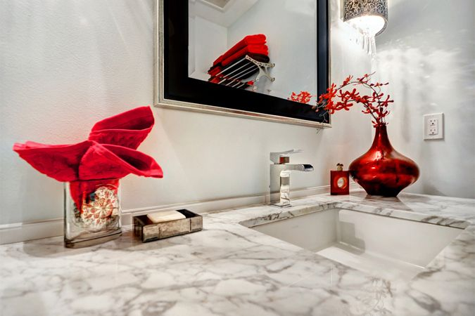 Carrara marble counter with a splash of color