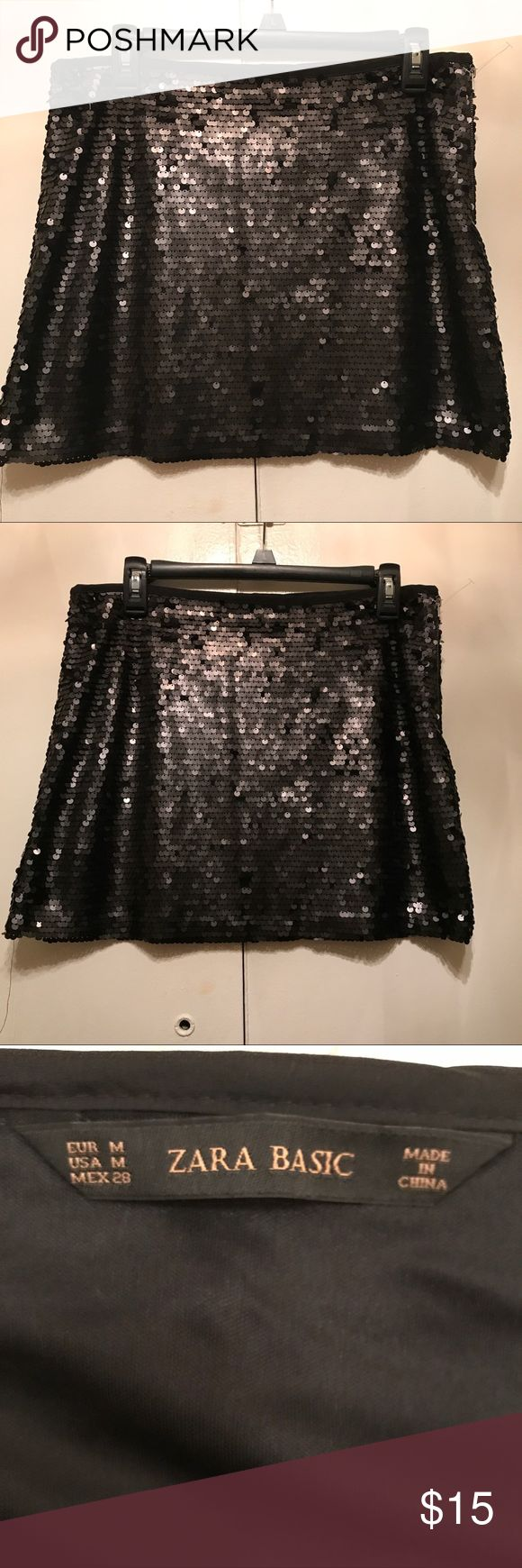 "Zara Basic Black Sequins Skirt SZ Medium Zara Basic Black Sequins Skirt SZ Medium NWOT Measurements 16"" Waist Length 15"" Long Zara Skirts Mini"