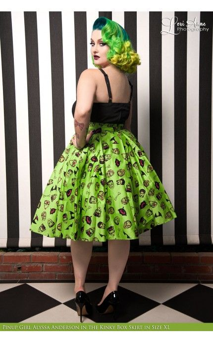 deadly dames - kinky box skirt in monster print - plus size