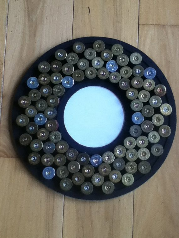 Shotgun shell circle picture frame by SilverThornDesignArt on Etsy, $75.00