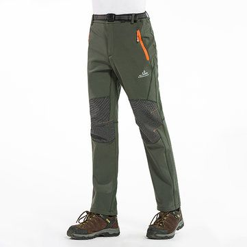 Winter Outdoor Thick Fleece Warm Pants Mens Water-repellent Camping Climbing Hiking Soft Shell Trousers