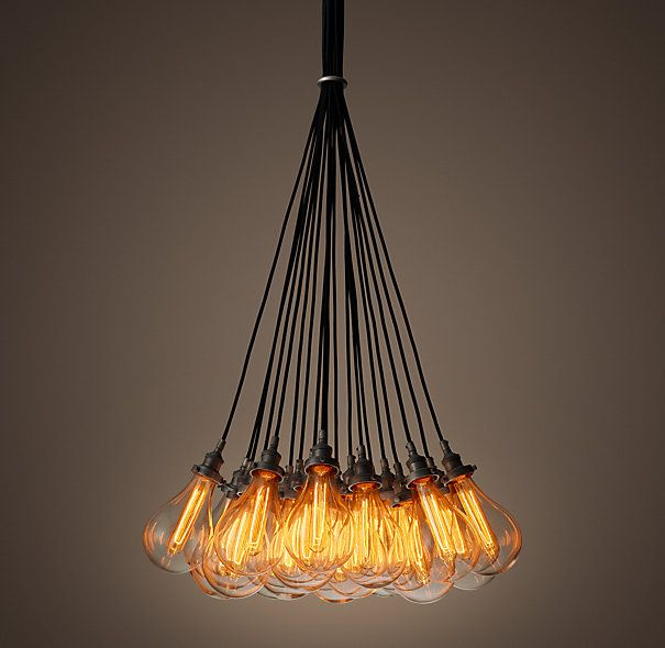 Teardrop Glass Filament 19 Cord Chandelier Aged Steel