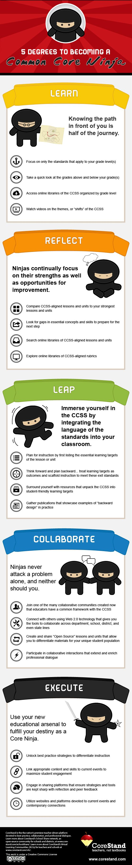 Learn to be a Common Core Ninja and how to address common core standards by using Blended Learning in the CTE classroom. from http://blog.aeseducation.com/2013/05/addressing-common-core-cte-standards-through-blended-learning/ #CommonCore #Education #BlendedLearning