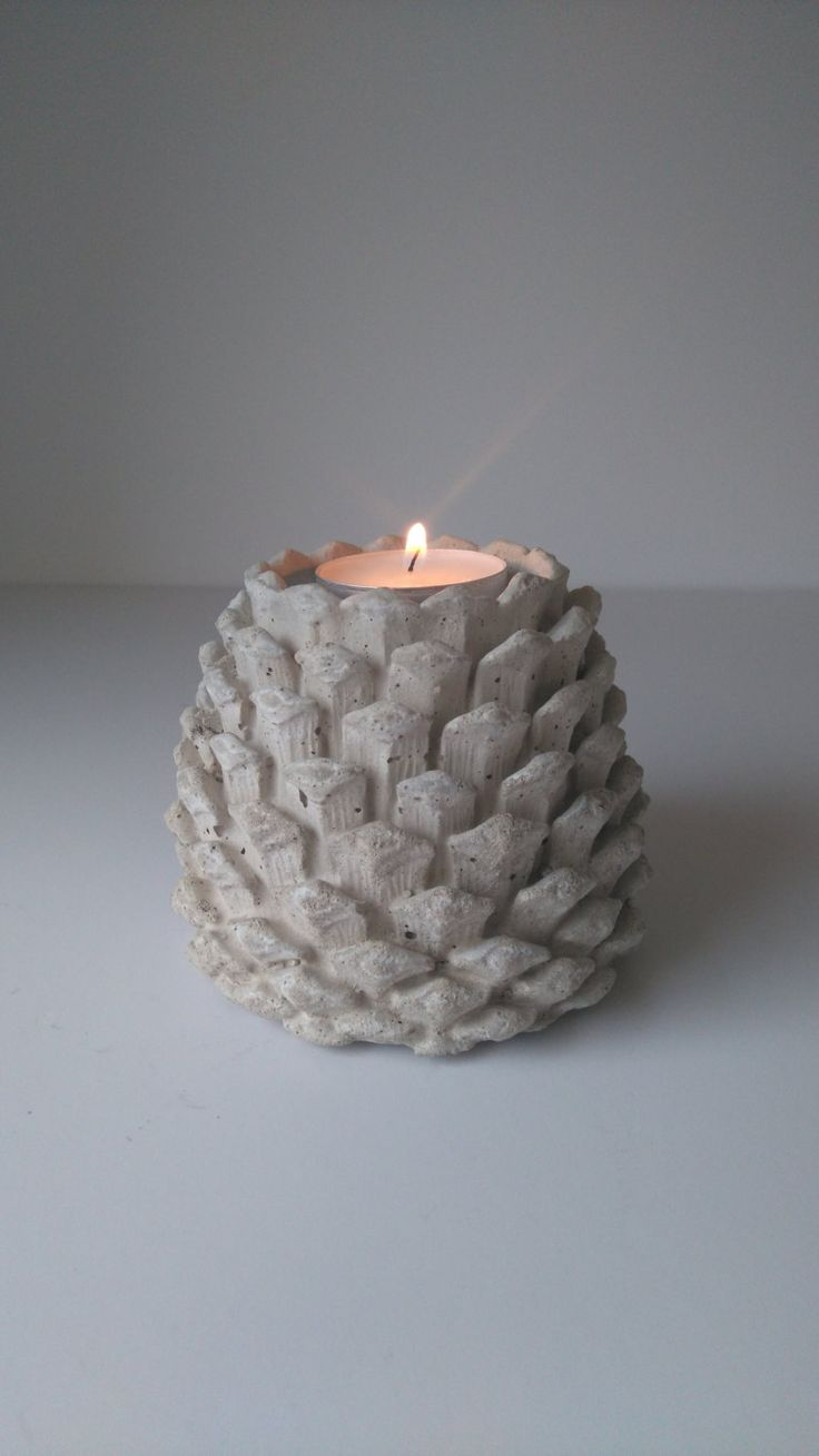 Concrete Fir cone candle holder by Naturecraftmoulds on Etsy