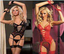 Sexy Black Correst Lingerie Lace Underwear Nightwear Sleepwear Women Dress