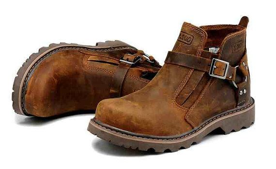 New Retro Geuine Leather Men's Boots,Slip on Outdoor Casual Shoes, Leather Hiking Boots for Men