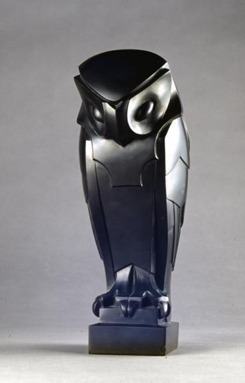 Édouard Marcel Sandoz Hibou dit « Chouette » ou « Effraie » Taille directe, marbre noir de Belgique 1912