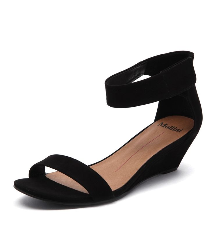Marsy by Mollini. Available at Styletread | Black Leather Wedge | Low Wedge | Work Wedge | Black Wedge | Style | Shoes | Mid Heel | Comfortable Wedge