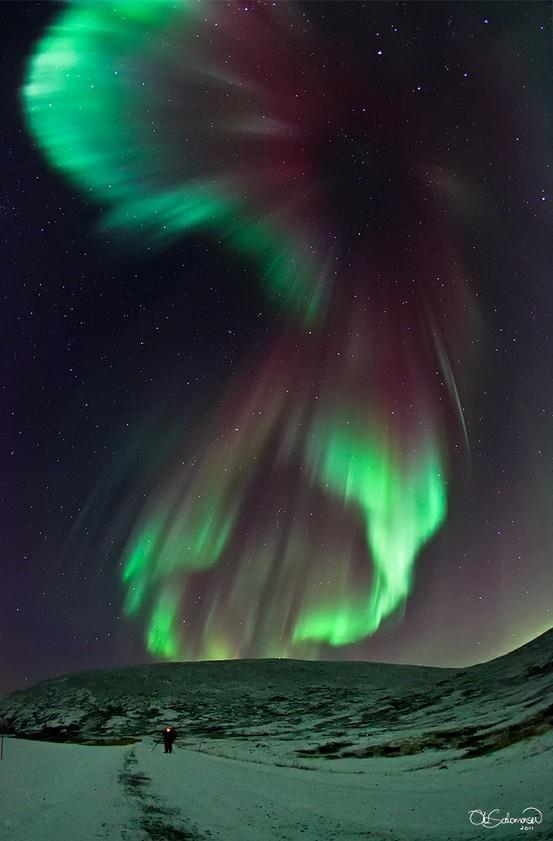 Aurora Borealis: Northern Lights Put On An Art Show in North Dakota at night.