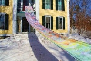 Frances Alford took a whole bolt of fabric and dyed it in her yard using snow as a resist. This is the result, and it's pretty fabulous.