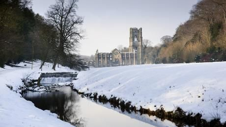 Fountains Abbey in snow