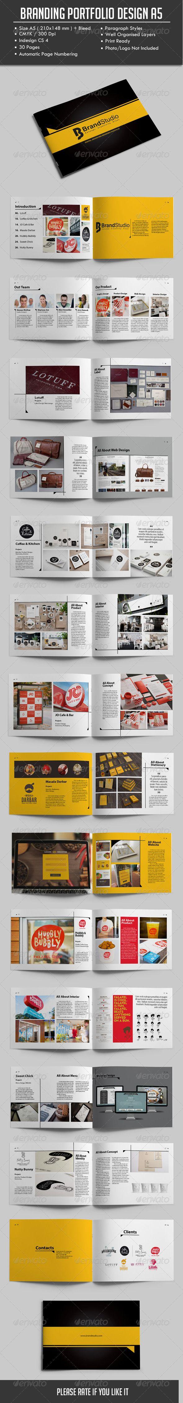 Branding Portfolio Design A5. Details30 Pages Indesign CS 4 Print Ready A5 Landscape (210148 mm)   bleed 300 dpi / CMYK Automatic