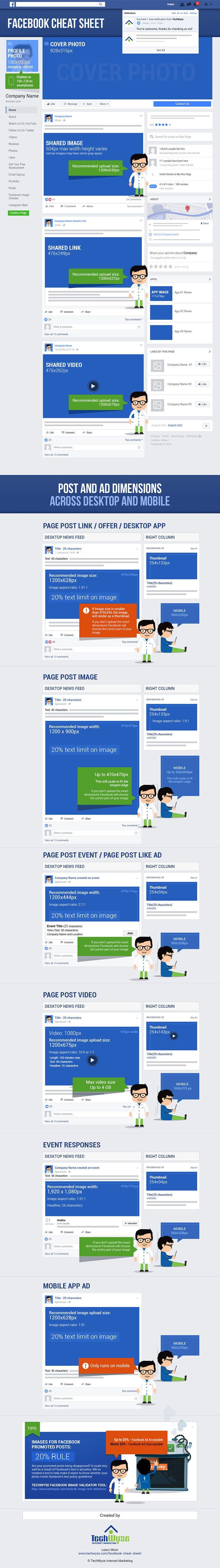 Facebook image sizes 2016: Get ALL the right sizes on this infographic! Includes Facebook cover photo and Facebook ad sizes. Updated October 2016. More info on the blog.