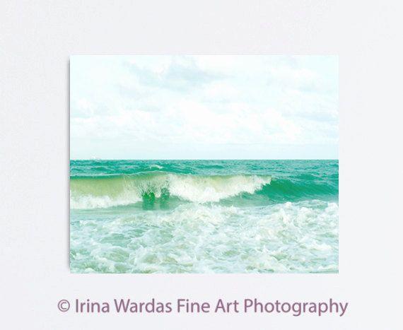 Canvas ocean photography emerald green light by PhotographySpa