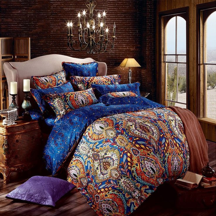 Orange et bleu royal Bohême Style Motif tribal conception unique de luxe en coton égyptien complet, taille Queen ensembles de literie - EnjoyBedding.com