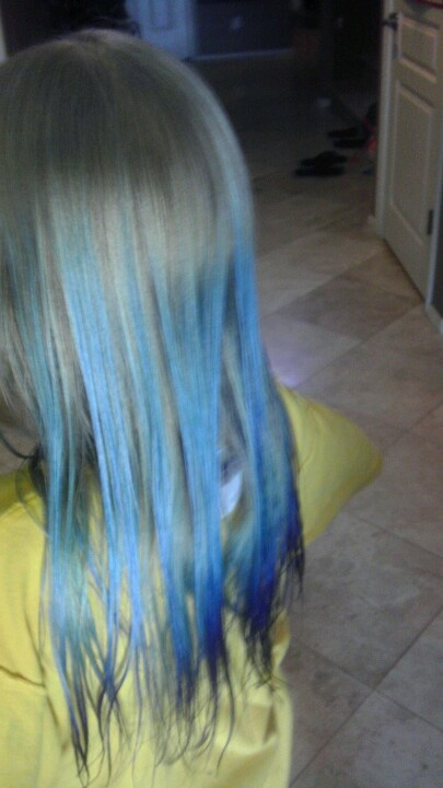 I did this to my sisters hair. I started out with just using the market due on her tips, but then she got impatient and so I brushed it while it was still wet and the color spread! I think it looks really coil like this
