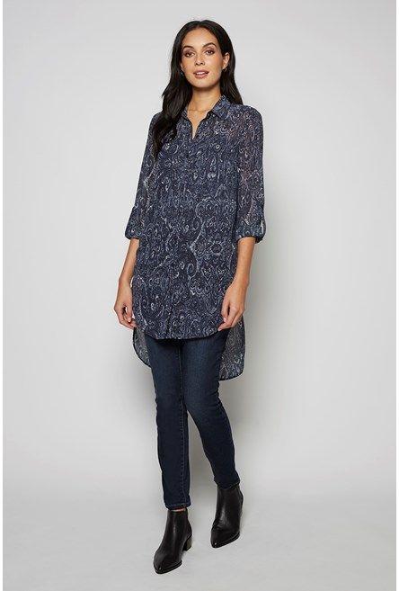 Hi Lo Shirt Tunic Ink Paisley 1